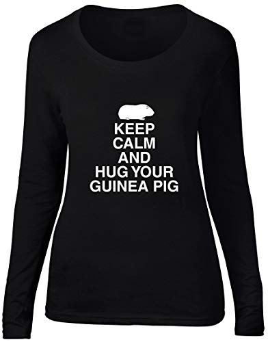 Hippowarehouse Keep Calm and Hug Your Guinea Pig Women's Long Sleeve Scoop Neck t-Shirt