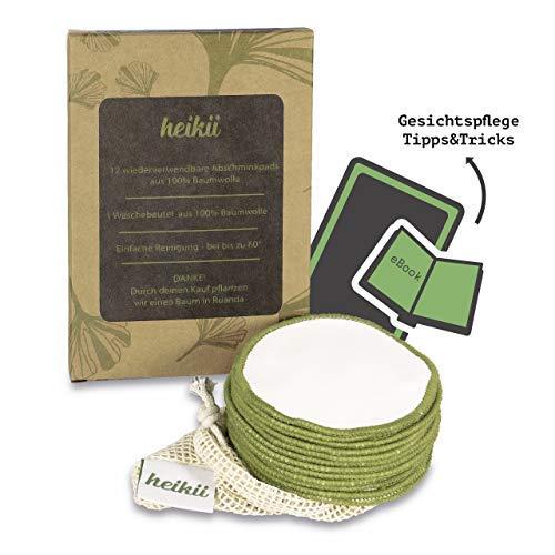heikii® Waschbare Abschminkpads aus reiner Baumwolle + GRATIS EBOOK und Wäschebeutel aus Baumwolle – 12 wiederverwendbare Wattepads