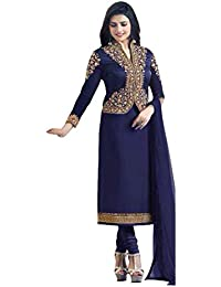 Mira Creation Women's Banglory Silk & Crape Blue & Maroon Coty Type Salwar Suit  (Size : Free)