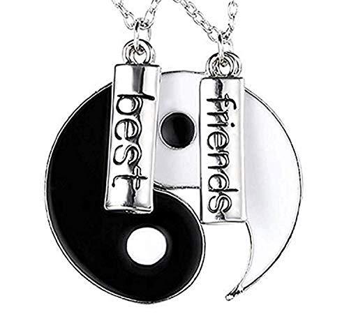EVRYLON Halskette Ying und Yang für Zwei Anhänger Symbol Bene und Male 2 Halsketten Freundschaft Geschenkidee für Unisex Modell Best Friends für 2 (Freundschaft Halskette Ying Yang)