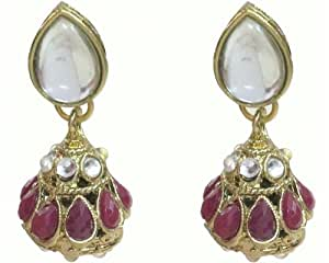 Karatcart Kundan Red Borla Earrings For Women