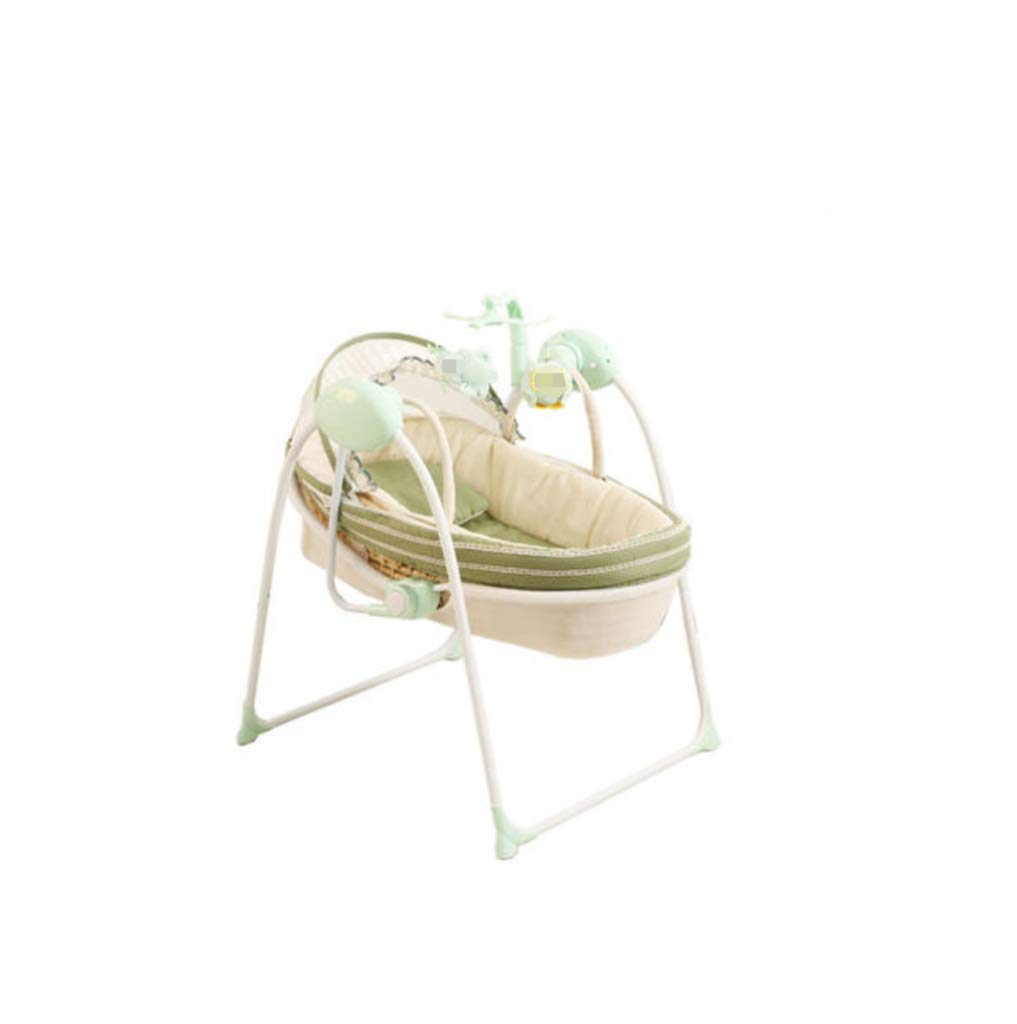 Baby Electric Cradle Bed - Baby Rocking Chair, comforting Cradle Bed, Baby cot, Basket The Bracket can be Separated for Easy Folding,Suitable for 0 to 1 Year Old AYUANCHUN The portable cradle is the perfect solution for parents looking for a well-designed cradle, and it also provides excellent portability. The cradle can be easily folded and made of durable lightweight frame for easy transport. The cradle features a double canopy made of elastic mesh to protect the final insects and mosquitoes. Breathable mosquito nets, don't worry about mosquito harassment, let your baby sleep well. Easy to install and fold without any tools, saving storage space. 1