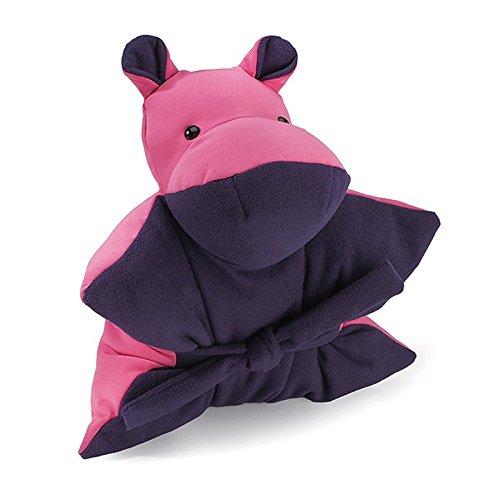 Jelino by JELANI Nilpferd Kuschelkissen Kinderkissen Kuschelfreund Sitzkissen Trostspender Soft-Shell (pink - beere, M)