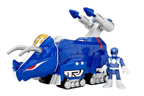 Imaginext CHJ09 Figuras de Triceratops y del Power Ranger Azul de los Power Ranger