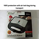Pheebs Non-Stick Grill Sandwich Maker with Cool Touch Handle and Lid Lock - (Silver and Black, 800 Watt)