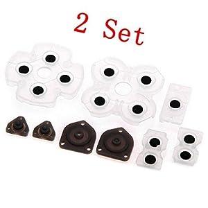 Leitfähige Gummiunterlagen aus Silikon für Sony Playstation 4 PS4-Controller für Dualshock-4-Tasten, Ersatzteil, 2 Set