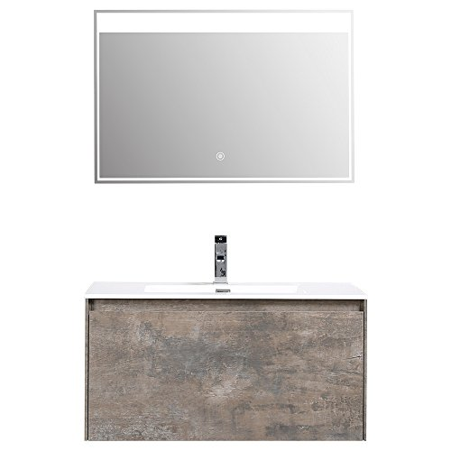 interougehome Meuble de Salle de Bain Simple Vasque avec Miroir LED - Gris