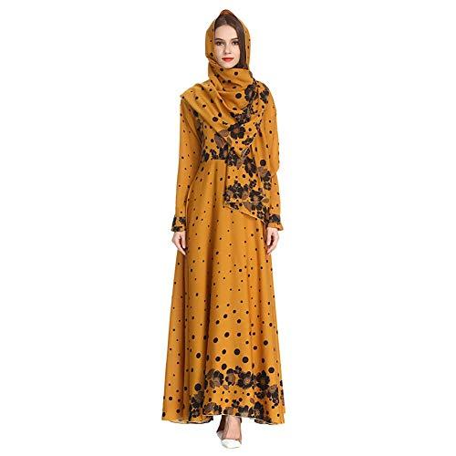 Meijunter Vestido Largo de Mujer Musulmana con Hijab - Abaya Estampado Floral Kaftan Túnica Suelta de Islámica Arabe Dubai