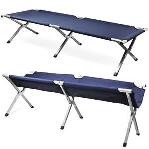 Outdoortips Aluminium Camping Folding Camp Bed (Navy)