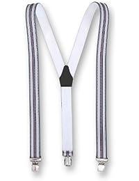 Hochwertige Hosenträger Extra Starker Clip Grau - Rot
