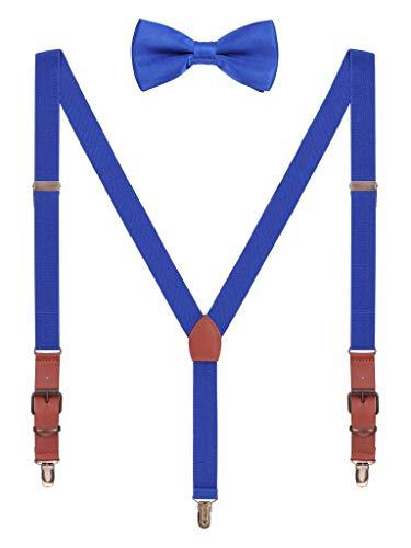 Hosenträger Fliege Sets für Herren Jugendlichen Y Form 3 Anti-Rost Clips Hosenträger Elastisch Verstellbar Classic Schick Gentleman - K;nigblau