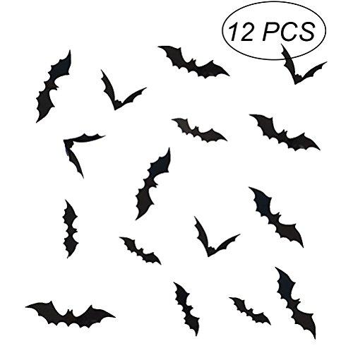 Vosarea 12pcs 3D Fledermaus Wandaufkleber entfernbare Wandtattoo Wandbild Halloween Wanddekoration