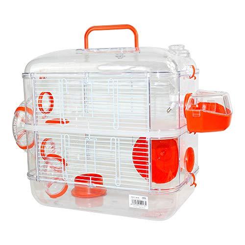 Jaulas para Hamster de plástico Duro, Jaula de Hamster L 2 Pisos Hamster caseta Bebedero comedero Rueda Todo Incluido 40 * 26 * 40cm(2 Piso, Naranja)