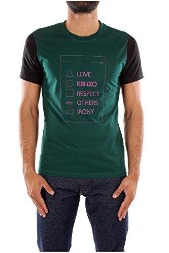 T-Shirt Kenzo Uomo Cotone Verde e Rosa 4BE5TS03853K42 Verde M