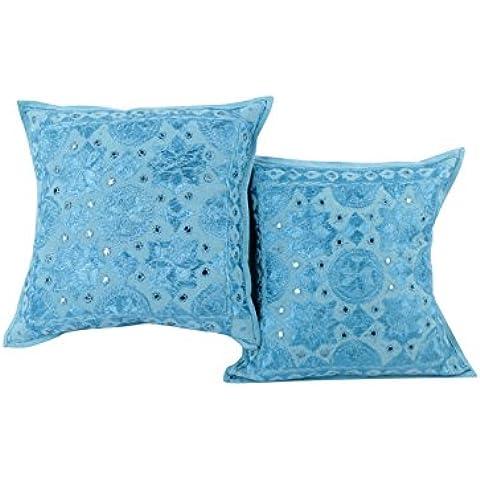 Trendy Baby Blue Set di 2 cuscini decorativi Coperchi 16x16 floreale ricamato tiro cuscino attraente cotone Cuscino da