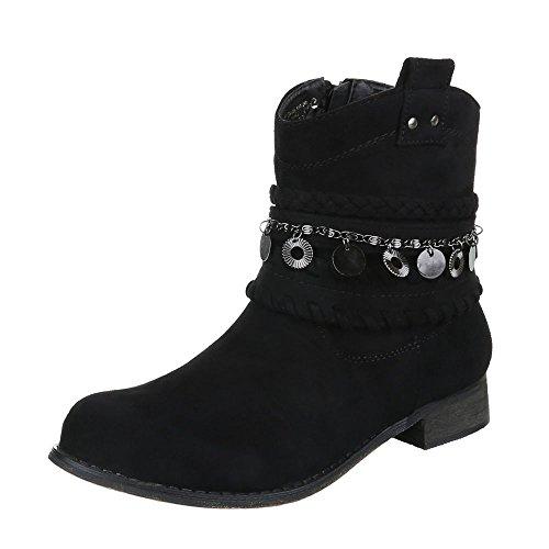 Cowboy- / Westernstiefeletten Damenschuhe Blockabsatz Western Ital-Design Stiefeletten Schwarz