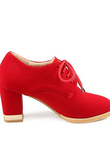 ZQ hug Scarpe Donna-Scarpe col tacco-Ufficio e lavoro / Formale / Casual-Tacchi / Punta arrotondata-Quadrato-Finta pelle-Nero / Blu / Rosso , red-us10.5 / eu42 / uk8.5 / cn43 , red-us10.5 / eu42 / uk8 blue-us9 / eu40 / uk7 / cn41
