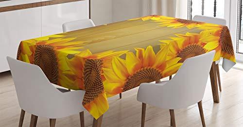 ABAKUHAUS Sonnenblume Tischdecke, Blumen Rahmen Kreis, Für den Inn und Outdoor Bereich geeignet Waschbar Druck Klar Kein Verblassen, 140 x 240 cm, Orange Braun (Orange-blumen-tischdecke)