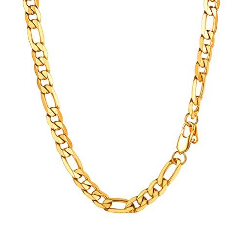 PROSTEEL Herren Figarokette Halskette 3+1 glänzend Edelstahl Figaro-Panzerkette 9mm Gliederkette Herren Hip-Hop Kette, 71CM lang, Gold