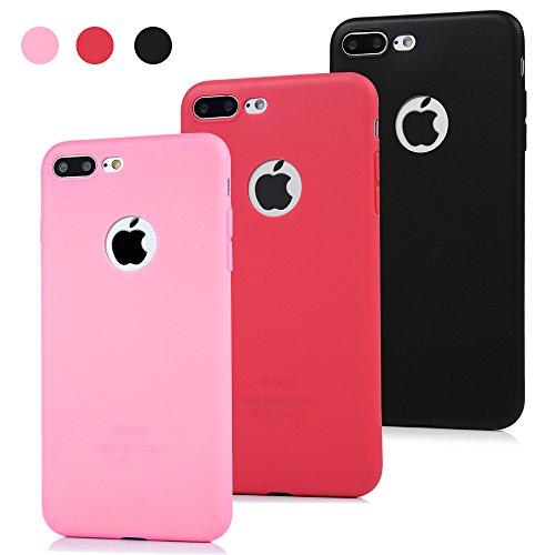 3x Funda iPhone 7 Plus, Carcasa Silicona Gel Case Ultra Delgado TPU Goma Flexible Cover para iPhone 7 Plus - Negro + rosa + sandía roja
