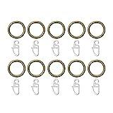 Lichtblick RI20.10.15 Ringe für Gardinenstange 12, 16, 20 mm, 10 Stück - 25 mm Durchmesser Messing Antik