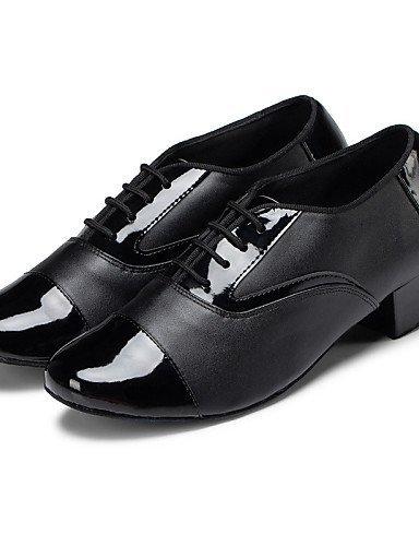 ShangYi Chaussures de danse(Noir) -Non Personnalisables-Talon Bas-Cuir-Latine / Jazz / Baskets de Danse / Claquettes / Moderne / Flamenco / Samba Black