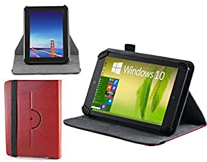 Navitech echte rote 7 Zoll bycast Leder flip Trage Tasche / Cover im Buch Stil für das Odys Space 7 Zoll Tablet