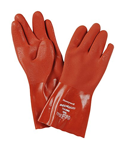 Honeywell t1412wg/9L unterstützt Deckhand PVC verriegelt Baumwolle Liner Großer 30cm Handschuh, (12Stück) -