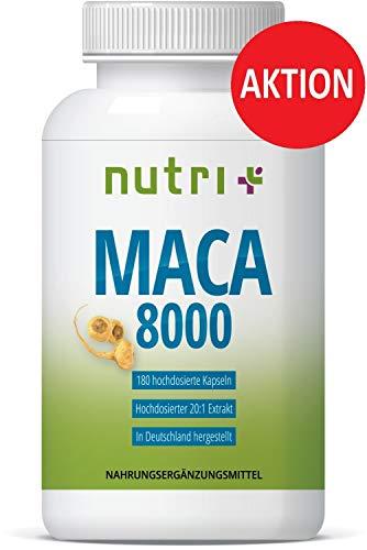 AKTIONSPREIS MACA 8000 GOLD hochdosiert - 180 Kapseln - Original 20:1 Extrakt aus Wurzel-Pulver - ohne Magnesiumstearat - für Männer & Frauen - vegan - in Deutschland hergestellt