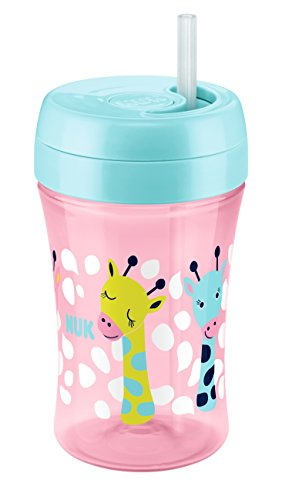 NUK 10255360 Easy Learning Fun Cup, mit versenkbarem Trinkhalm, 300 ml, ab 18 Monate, Girl, rosa
