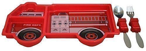 Kinder-Teller mit Besteck 28 x 14 cm - Feuerwehrauto Feuerwehr - (70521) …