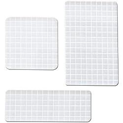 Estampado Bloques de Acrílico con Línea de Rejilla,Acrílico transparente, 3 especificaciones (2 Rectangular, 1 Cuadrado) 1 cm de altura