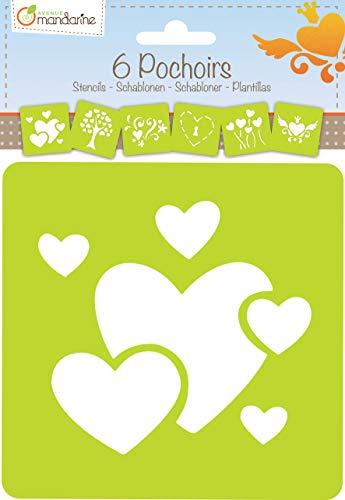 Avenue Mandarine 42640O Set (mit 6 Schablonen, 15 x 15 cm, geeignet für Kinder ab 3 Jahre, für Filz- und Farbstifte, Farben oder Farbbomben, Herzen) 6er Pack
