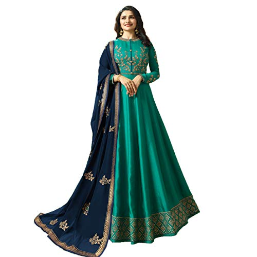Monika Silk Mill Women\'s Latest Rama Color Silk Embroidered Abhaya Pattern Traditional wear Wedding Collection Gown Style Anarkali Salwar Suit Dress Materials