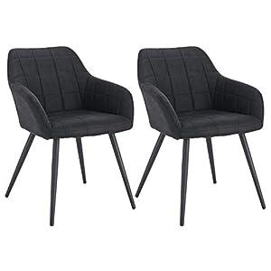 WOLTU® Esszimmerstühle BH224an-2 2er Set Küchenstuhl Polsterstuhl Wohnzimmerstuhl Sessel mit Armlehne, Sitzfläche aus…