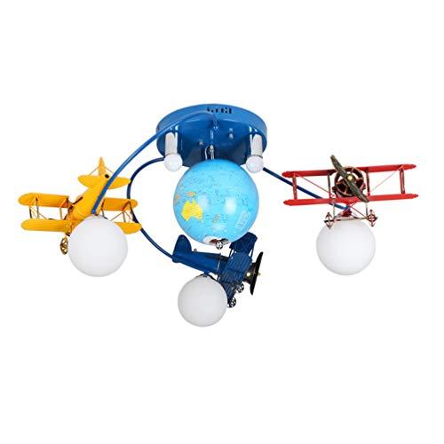 HTL Kreative Pers?nlichkeit 3+3 LED 40W Deckenleuchten Globus Metall Flugzeuge Deckenlampe Glasschirm Deckenleuchte f¨¹r Kinderzimmer 75¡Á75¡Á39cm -