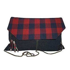 Grosße Clutch Tasche Denim Umhängetasche mit Überschlag kariert Jeanstasche Rot & Blau mit Kette Frauen Mädchen
