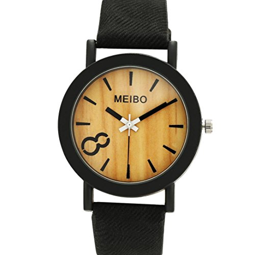 Coolster Unisex & Herren Log Farbe Einfache Leder Armbanduhr Armband (Anzug Billig Schwarzen)