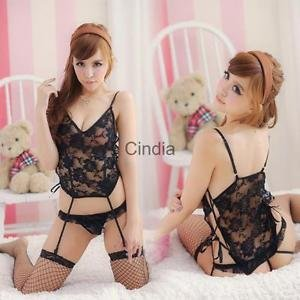 Alcoa Prime 2pcs/Set Black Lace Nightwear Dress Babydoll Lingerie w/ Garters Thong