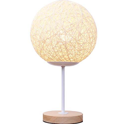 JXJJD Tischlampe Schlafzimmer Nacht romantisch romantische dimmbare kreative Wohnzimmer Schnur Rattan Tischlampe