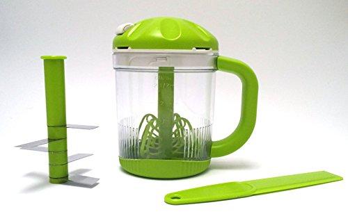 Euronovità Universal-Zerkleinerer mit 5 Messerklingen aus Stahl mit Zugmechanismus (manuelle Kordel), auch geeignet für Gemüse/Kräuter