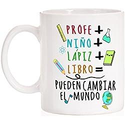 Taza Profe + Niño + Lápiz + Libro = Pueden cambiar el Mundo. Taza para profesores o alumnos de regalo