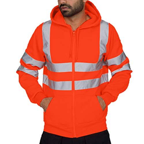 Azruma Herren Hohe Sichtbarkeit Kapuzenpullover Workwear Warnschutz Hoodie Reflektierend Sicherheitsjacke Atmungsaktiv Langarm Kapuzenpulli Sweater Reißverschluss Kapuzenjacke