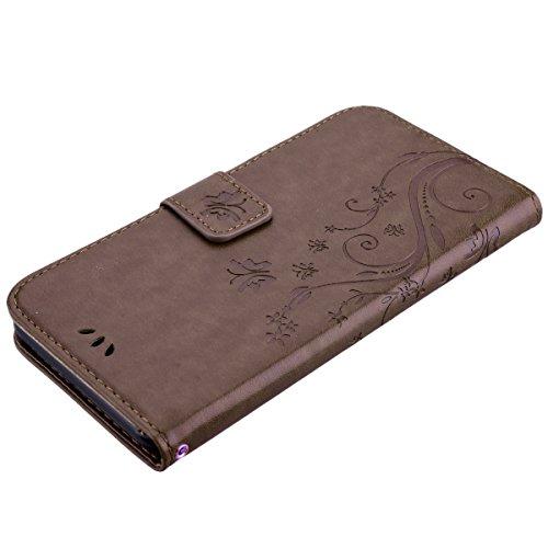 HB-Int 3 en 1 Housse en PU Cuir pour Apple iPhone 7 Plus (5.5 pouces) Noir Originale Motif Etui Papillon Fleur Coque Pochette Flip Housse Stand Fonction Cover Case Card Slots Book Style Coque avec Fer Marron