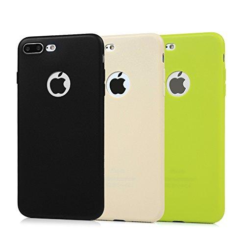 3x Funda iPhone 7 Plus, Carcasa Silicona Gel Case Ultra Delgado TPU Goma Flexible Cover para iPhone 7 Plus - Negro + beige + verde