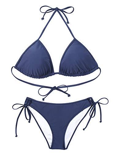 Reteron Damen-Bikini mit Schnürung und seitlichem Saum - - Small -