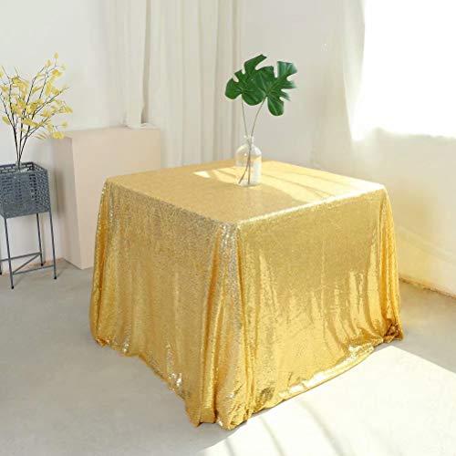 goldfarbenen Pailletten, 274 x 274 cm, quadratisch, glitzernd, Herbst-Tischdecke, rechteckig, für Hochzeit, Party, Geburtstag, Tischdecke, Event, Urlaub, Heimdekoration Gold ()