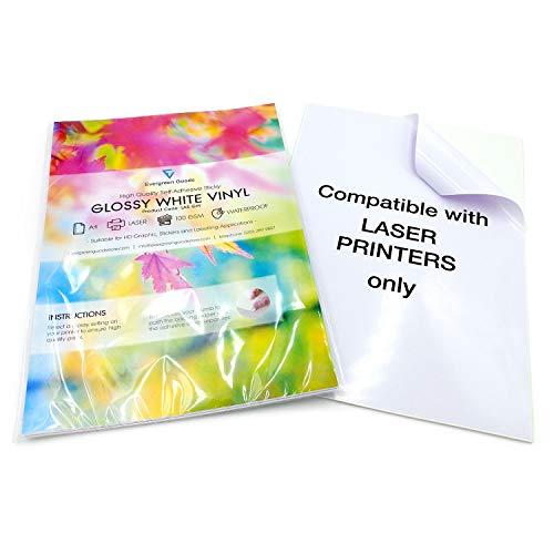 EVG fogli bianchi impermeabili formato A4 auto-adesivi di alta qualit/à lucidi in vinile Confezione da 5 pezzi per stampa a getto dinchiostro