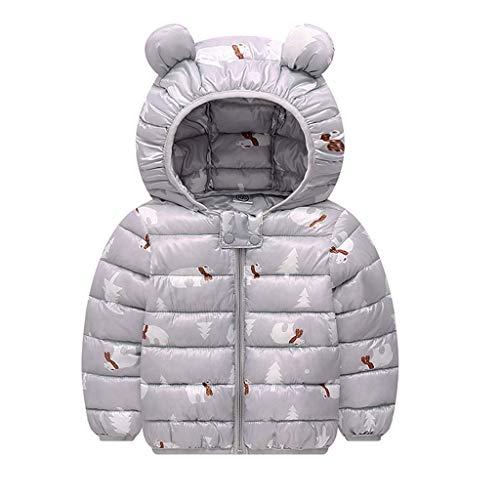 DIASTR Jungen Mädchen Jacke mit Kapuze Baby Baumwollmantel Regenmantel Gemusterte mit Print für Kinder Jacke Ohren Hoodie Kleidung(12m-4t)