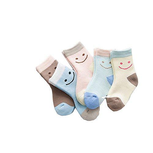 Butterme Unisex bambini bande classiche calzini caldi di inverno cotone spesso Crew Socks 6-8 anni- 5 Pack colori differenti